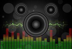 Speakers. Loud Speakers glowing party background Royalty Free Stock Photo