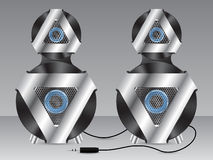 Speakers with metal and plastic elements Stock Photos