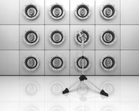 Speakers and mic on a stand. 3d render of a wall of speakers and a microphone on a stand Royalty Free Stock Photos