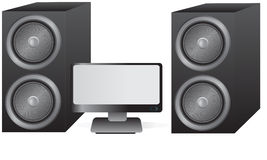 Speakers and Monitor. Speakers and a computer monitor/TV Royalty Free Stock Photo