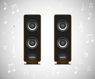 Speakers and musical notes Stock Photo