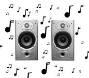 Speakers and musical notes on white. Pair of stereo speakers with musical notes isolated on white background stock photos
