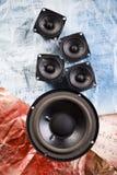 Speakers on old notes. A loudspeaker, speaker, or speaker system on old notes Stock Photography