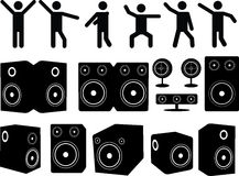 Speakers and people dancing Stock Photography