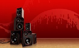 Speakers on red Stock Images