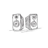 Speakers, sketch, vector, illustration Royalty Free Stock Images