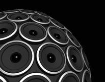 Speakers sphere. Three dimensional speakers sphere isolated on black Royalty Free Stock Images