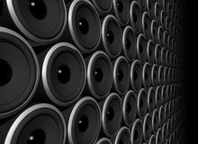 Speakers sphere. Three dimensional speakers wall isolated on black Royalty Free Stock Photos