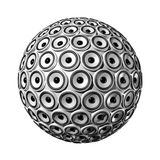 Speakers sphere. Three dimensional sphere made of white speakers - isolated on white Stock Image