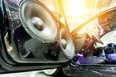 Speakers in a sport car Stock Photography