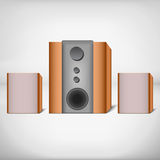 Speakers with subwoofer. Brown computer speakers with subwoofer Stock Images