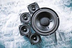 Speakers system. A loudspeaker, speaker, or speaker system on old notes Royalty Free Stock Images