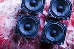 Speakers system on notes. A loudspeaker, speaker, or speaker system on old notes Royalty Free Stock Photography