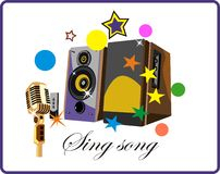Speakers systems. Music Star Dj. Retro dj. Speakers systems and mucrophones. Sing songs Royalty Free Stock Photo