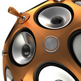 Speakers and Toggle switch, 3D Royalty Free Stock Image