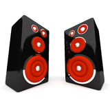 Speakers on white background. Two Black Speakers on white background Stock Photos