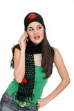 Speaking. Attractive girl speaking by cellular phone with boyfriend Stock Photo