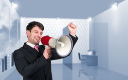 Speaking boss with megaphon Royalty Free Stock Photos