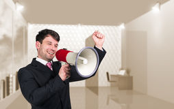 Speaking boss with megaphon Royalty Free Stock Photography
