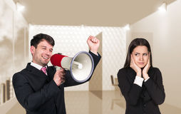 Speaking boss with megaphon Royalty Free Stock Images
