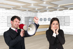 Speaking boss with megaphon Royalty Free Stock Image