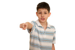Speaking boy pointing forward Royalty Free Stock Images