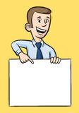 Speaking businessman pointing at blank placard Stock Photography