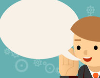 Speaking. Businessman and speech bubble. Message communication, person man character. Vector illustration Royalty Free Stock Images