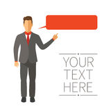 Speaking businessman vector concept in modern flat style Royalty Free Stock Image
