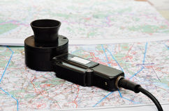 A speaking device on the aerial map Royalty Free Stock Image
