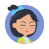 Speaking Girl with Black Hair and Blue Bow on Head. Girl with black pigtail and blue bow avatar userpic. Speaking young person with close eyes. Girl in round Stock Images