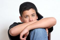 Speaking with his eyes. A portrait of a teenage boy royalty free stock image