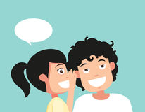 Speaking and listening, hearing and whisper, vector Royalty Free Stock Images