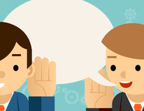Speaking  listening. One man holds hand his ear. Speaking and listening. One man holds hand at his ear and the other says. Bubble information, hearing and Royalty Free Stock Images