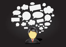 Speaking man with many ideas. On black background Stock Image