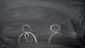 Speaking of people. Business concept: speaking of people. two man in ties silhouette and speak bubbles chalk hand chalk drawn on black chalkboard speak bubbles stock video