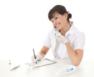 Speaking on the phone female doctor Royalty Free Stock Images