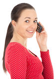 Speaking by phone pimpled teenager woman Royalty Free Stock Photo
