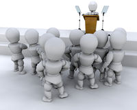 Speaking to a crowd. Person speaking to a crowd of people Royalty Free Stock Images