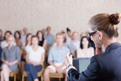 Speaking at the university Royalty Free Stock Photos