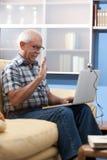 Speaking through Webcam Stock Image