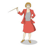 Speaking woman with pointer. Young smiling blonde woman with pointer in red suit Royalty Free Stock Photography