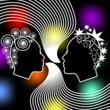 Speaking women, two female face profiles with extravagant hairstyle on black background with colored bokeh lights. Stock Photography