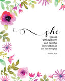 She Speaks with Wisdom Proverbs 31 Print. She Speaks with wisdom and faithful instruction is on her Tongue Bible Scripture Verse Design From Proverbs 31 with Stock Photography