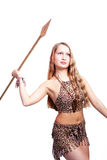 Spear. Shot of an girl holding african spear. Shot in studio. Isolated with clipping path Stock Images