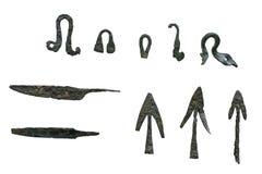 Spear en de pijlpunten van het brons Stock Foto's