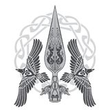 The Spear Of The God Odin - Gungnir. Two ravens and Scandinavian pattern. Isolated on white, vector illustration Stock Images