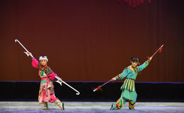 "Spear and Halberd--Peking opera ""Little Worriors of Yeuh's family"" Royalty Free Stock Photos"