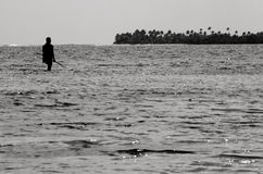 Spearfishing在Aitutaki盐水湖库克群岛 免版税库存图片