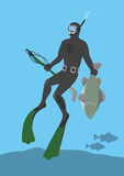 Spearfishing. The picture shows a submarine hunter Royalty Free Stock Photos